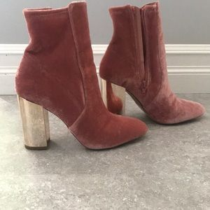 Light pink heeled booties